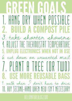 Green Goals | Eco Friendly Living #gogreen #ecofriendly #goals