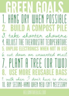 Green Goals | Eco Friendly Living #gogreen #ecofriendly #goals