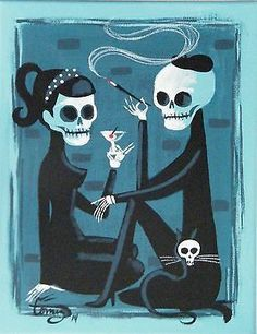 El gato gomez painting retro 1950s beatnik skull kitschy cat day of the dead  Found on pages.ebay.com