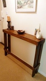 Pallet Furniture Projects Hall table from old pallet. It is so hard to find skinny tables, love this idea! Pallet Furniture, Furniture Projects, Home Projects, Playhouse Furniture, Pallet Playhouse, Furniture Vintage, Furniture Plans, Furniture Design, Recycled Furniture