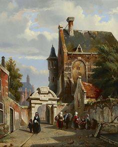 Adrianus Eversen. Amsterdam 1818-1897 Delft.  Stadsgezicht met de Amsterdamse Zuiderkerkhofpoort, olieverf op paneel 26,1 x 21,3 cm, gesigneerd l.o. met monogram en te dateren ca 1852.