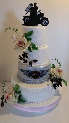 Wedding cake. All decoration in sugar. Harley Davidson lovers. Sugar flowers. Cake by Carmen Sweetness 63