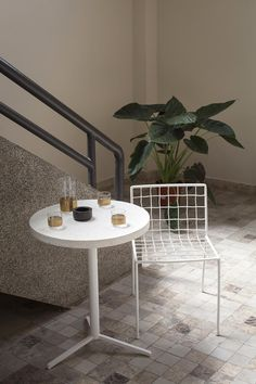 Serax bistro table with Terrazzo tabeltop. Chair by Antonino Sciortino