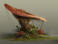 Mushroom Homes, Alana Fletcher on ArtStation at https://www.artstation.com/artwork/6Xdww