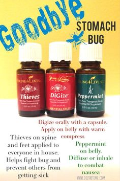 Combat a stomach bug with Young Living essential oils! Peppermint and Thieves are part of the Everyday Oils in the Starter Kit... www.thewelloiledlife.com/premiumkit