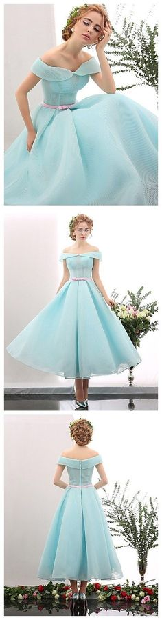 166af7fcc9d1 A-Line Off Shoulder Tea Length Spandex Cocktail Party / Prom Dress with  Sash / Ribbon by Huaxirenjiao