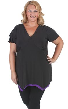 Gorgeous black with purple short sleeve top. #Curvaceousclothing# #plussize# #top# Sizes 18 to 28