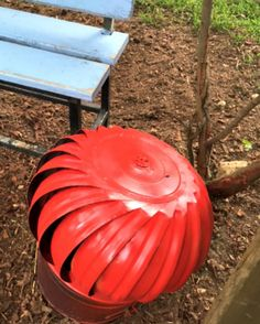Garden Bench Makeover included painting this house vent red. www.Gardenchick.com