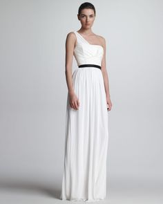 Gojee - One-Shoulder Jersey & Leather Gown by Jason Wu