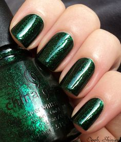 China Glaze: Emerald Sparkle. I went to Sally's today to look for it but it was all sold out so now I have to find it online somewhere :(