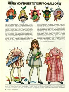 Vintage November 1973 Magazine Paper Doll Betsy McCall Merry November to You From All of Us