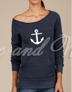 off shoulder anchor sweatshirt
