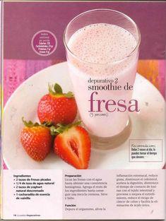 En imagen la receta Depurativo: Fresas, agua, yogur, esencia de vainilla.
