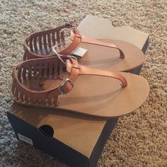 NIB American Eagle Outfitters Sandals 7 These sandals are super cute and tan in color. Retails for $29.95. NOT NEGOTIABLE ON PRICE AND NO TRADES  Listed for less on Merc! American Eagle Outfitters Shoes Sandals