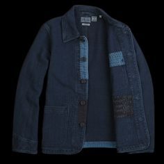 Blue Blue Japan - Sashiko Hand Stitched Chore Jacket in Indigo