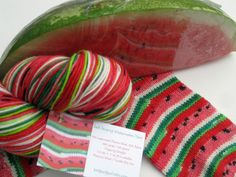 Hand dyed self striping watermelon sock yarn - via Etsy. Brilliant!