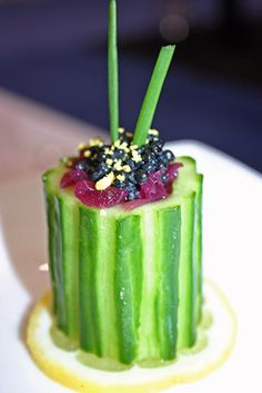 tea party--cucumber cups with caviar & champagne onions