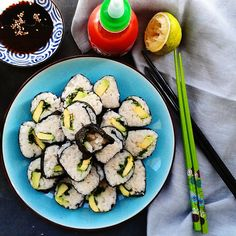 How are you doing guys?  These are simple #sushi from yesterday cilantro, spinach, avo, and brown rice