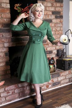 Secretary Circle Green 3/4 | Bettie Page Clothing.  I LOVE this dress, I just worry the top is too low.