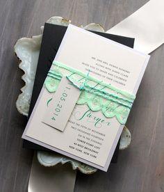 Mint Wedding Invitations, Lace Wedding Invitation, Elegant and Modern Wedding - Mint Script Sample on Etsy, $7.95 AUD