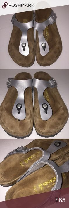 Birkenstock Silver Gizeh Sandals sz 9/40 Please SHARE this time , Shoes have Been worn before , no box , no trades only selling see my other items / styles Birkenstock Shoes Sandals