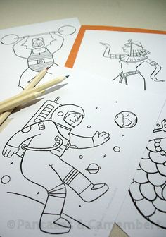 10 Coloring sheets - Extraordinary characters by Pancakes & Camembert on Etsy.