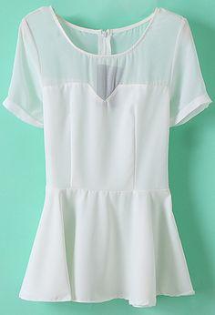 Shop White Sheer Shoulder Short Sleeve Ruffle Peplum Top online. SheIn offers…