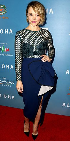 Last Night's Look: Love It or Leave It? | RACHEL MCADAMS | in a green-and-blue Self-Portrait dress, with mesh detailing and a draped midi skirt with a knee-high split, plus black pumps and a bright-pink lip, at a special screening of Aloha in West Hollywood, California.