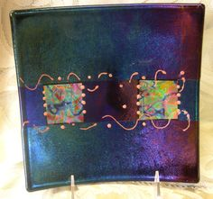 Fused Slumped Glass Decorative Plate by Vintagearts on Etsy, $69.00