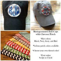 Monogrammed Chevron Patch Ball Caps! Ball Caps, Monogram Hats, Coral, Turquoise, Font Styles, Yellow Black, Monograms, Moose, Chevron