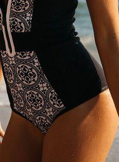 5455df795612f One Piece Zipper Retro Print Bikini Push Up Bathing Suit