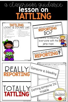 To use when tattling gets out of control. Leads a classroom discussion on tattling vs. reporting --includes printables and digital copy to save on printing! School Guidance Counselor, Elementary School Counselor, School Counseling, Character Traits For Kids, Character Education, Responsibility Lessons, Social Emotional Learning, Emotional Kids, Classroom Management Plan