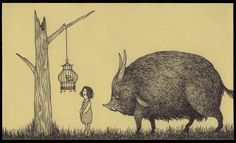 John Kenn- makes marvelous monster drawings on post-it notes in his spare time