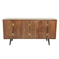 Kriss Solid Wood Sideboard, Brass Inlays - Barker & Stonehouse