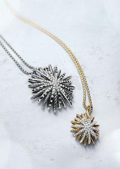 Starburst necklaces with diamonds.