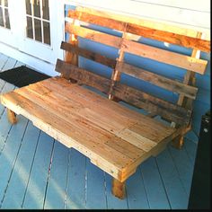 Patio bench made completely from recycled pallets.