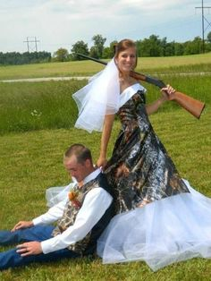 Looks like she bagged a trophy buck! Check out these 5 Awesome Camo Weddings You Wish You'd Thought Of!