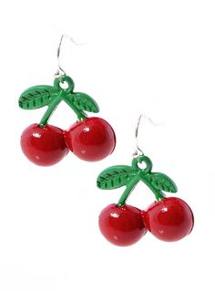 Retro Red Cherries Earrings by Zad Jewelry, RED