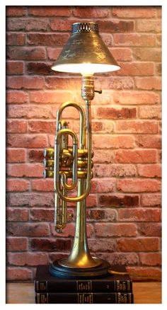 Vintage Circa 1920's York Brass Trumpet w/ Shade Up-cycled Distressed Table Lamp #Industrial #York