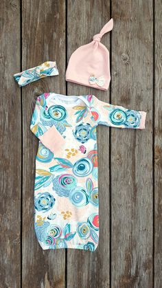 Spring Floral Newborn Gown with Matching Knot Hat or Knot Headband, Baby Girl