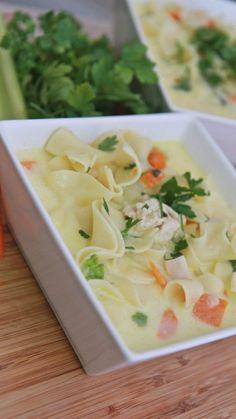 Easy Creamy Chicken Noodle Soup Recipe | Divas Can Cook
