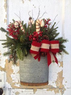Christmas Wreath- Christmas Rustic Basket-Christmas Tin Basket- Candy Cane…