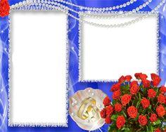 Wedding Frames on Bright Blue Back