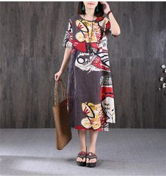 Ethnic Printing Round Neck Women Gray Dress