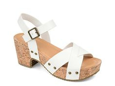 Journee Collection-Valentina Sandal The Valentina sandal from Journee Collection will become your new warm weather favorite! A chunky cork platform with studded accents creates retro-inspired appeal perfect for wide leg pants or mini skirts. Dress Sandals, Women's Shoes Sandals, Kids Sandals, Shoe Carnival, Open Toe Sandals, Buy Shoes, Women's Pumps, Vegan Leather, Platform