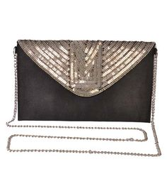 Diwaah Black Silk Clutch