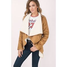 Tobi Chills Shearling Jacket ($35) ❤ liked on Polyvore featuring outerwear, jackets, camel, camel jacket and shearling jacket