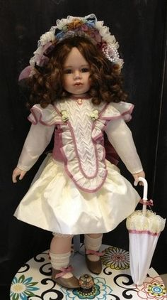 Morgan Brittany Collectable Victorian Doll Ages 8 Porcelain Stand Year 1994 | eBay  $149.00
