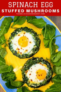 These amazing spinach egg stuffed portobello mushrooms are a delicious, healthy, easy way to impress your guests. Eggs with sauteed veggies are great for breakfast, brunch or anytime. Satisfying, gluten free, low carb, high protein. Inspired by the Persian recipe Nargesi Esfenaj. | Spinach Eggs | Egg Nests | Mushroom Eggs | Kale Eggs | Nargesi Recipe | Egg in a Hole | #lowcarb #glutenfree #breakfast #brunch #baking #vegetarian #sidedish #Persian #easyrecipe