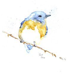 Bluebird water color..so simple yet so pretty :)